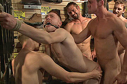 Branden Forrest, Bryan Cavallo, Connor Maguire, Damien Moreau, John Jammen, Ruckus in Boot Shop Slut Abused And Gang Fucked By Coworkers by KinkMen