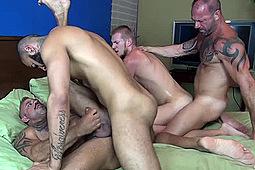 Billy Warren, Jon Galt, Rikk York, Vic Rocco in Hung Breeders by Dark Alley Media, Raw Fuck Club