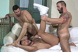 Alessio Veneziano, Dario Beck, Donato Reyes in Hairy Boyz 49 by Falcon Studios Group, Raging Stallion Studios