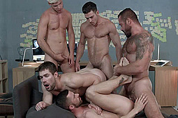 Griffin Barrows, Jessy Ares, Ken Rodeo, Paddy O'Brian, Sunny Colucci in Ex-Machina A Gay XXX Parody by Men